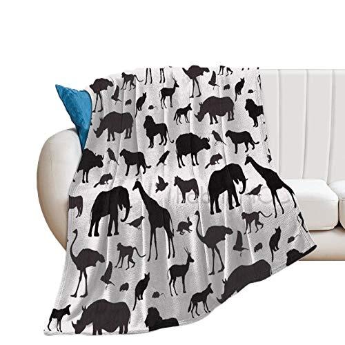 Manta de forro polar, 76,2 x 101,6 cm, animales de vida silvestre hábitat silueta composición animales como jirafa elefante, negro y manta de cama suave manta de microfibra