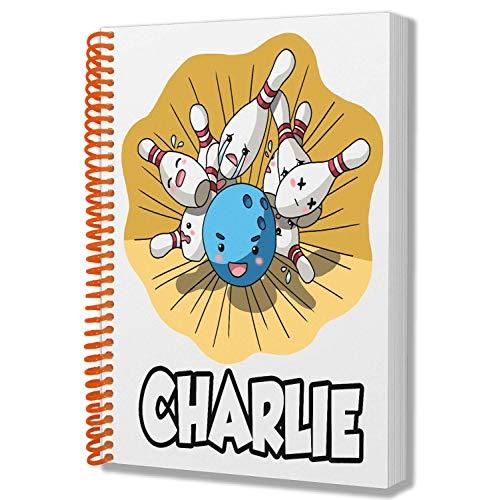 Personalisiertes Geschenk – 10 Pin Bowling – A5 Notizblock – Notizbuch – Geburtstag – Weihnachten – Nikolaus – Name hinzufügen