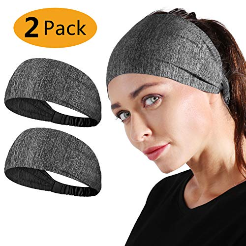 Neitooh Headbands for Men Women(2 Pack), Mens Headband Elastic Sweat Wicking Non Slip for Workout Running Sports Travel Fitness Riding Cycling Hiking, Lightweight Breathable Headscarf Sweatbands