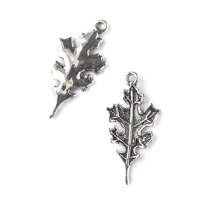 Cherry Blossom Beads 14x28mm Silver Pewter Oak Leaf Charm - 10 Per Bag