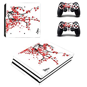 PS4 Pro Skin for Console and Controllers by ZOOMHITSKINS, Same Decal Quality for Cars, Japanese Cherry Blossom Red Leave Sakura Leaf Flower, High Quality, Durable, Bubble-free, Goo-free, Made in USA