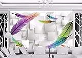 Fotomurales Pluma morada 250x175 cm -5 piezas Papel Pintado Fotográfico XXL Papel pintado Tipo Fleece no-trenzado Vista 3D Salón Dormitorio Despacho Pasillo Decoración murales