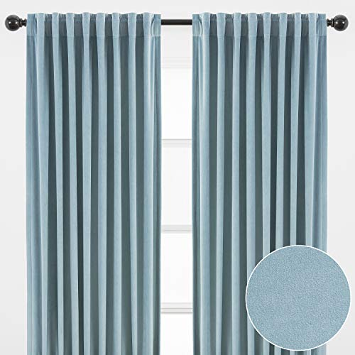 Chanasya 2-Panel Classy Solid Heavy Velvet Curtains - 3-in-1 Back Tab, Rod Pocket, Ring Tab - for Windows Living Room Bedroom - Partial Room Darkening Drapes for Privacy- 52 x 108 Inches - Slate Blue