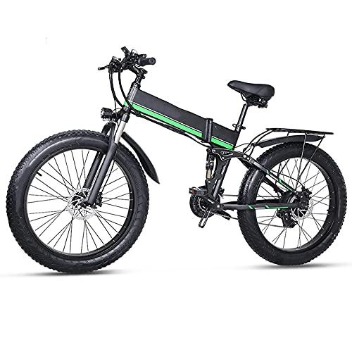 showyow Bicicleta de montaña eléctrica, 48v 1000w Bicicleta Plegable para Nieve 4.0 Fat Tire e Bike Batería de Litio de 48v, para entornos urbanos y desplazamientos hacia y Desde el Trabajo