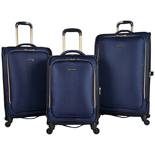 """Aimee Kestenberg Women's Parker Jacquard Polyester Expandable 4-Wheel 3-Piece Luggage Set; 20"""" Carry-on, 24"""", 28"""" , Navy"""