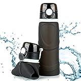 TROIKA Botella de silicona plegable | Capacidad: 750 ml | Enrollable y antigoteo | Para deportes al aire libre, escuela y camping | Sin BPA | Silicona de grado médico | Color: negro