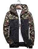 shepretty Herren Jacke Kapuzen Windbreaker Camouflage Zip-Hoodie Sportswear Laufjacke,Grün,3XL