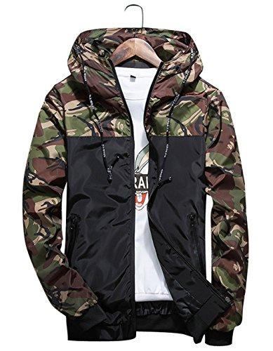 shepretty Homme Veste Camouflage Manches Longues Sweat-Shirt Casual à Capuche Coupe-Vent,Vert,L