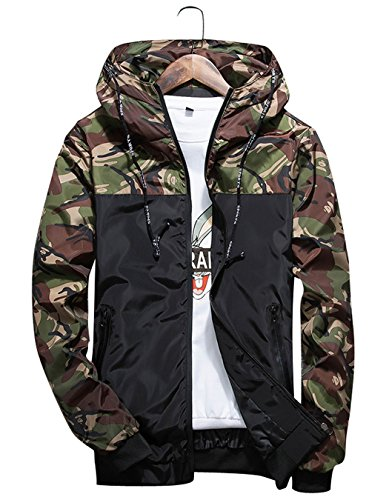 shepretty Herren Jacke Kapuzen Windbreaker Camouflage Zip-Hoodie Sportswear Laufjacke,Grün,M