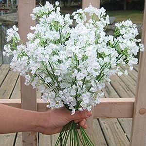 Silk Flower Arrangements Floral Decor 1 Piece White Babies Breath Flowers Artificial Fake Gypsophila DIY Floral Bouquets Arrangement Wedding Home Decor - (Color: 1 pcs)