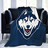 Linsanlingqi Uconn Huskies Warm and Ultra-Soft Micro Fleece Blanket Fashion Novelty 3D Design Throw Blanket Multi-Style for All Living Room Bedroom Sofa Chair Couch and Bed