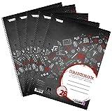 Landre - Cuaderno (A4, cuadriculado con margen, 80 hojas, 5 unidades), color negro...