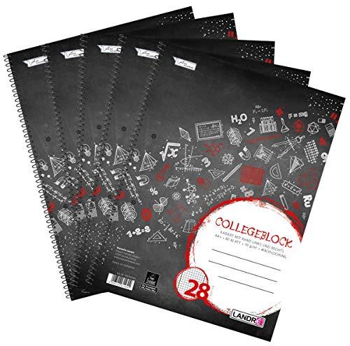 Landre - Cuaderno (A4, cuadriculado con margen, 80 hojas, 5 unidades), color negro