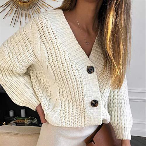 WUBIAOTANG Botón Cardigan suéter Chaqueta Ropa de Invierno suéter de Punto Damas otoño otoño suéter de Color de Mujer Casual de Manga Larga (Color : Sky Blue, Size : One Size)