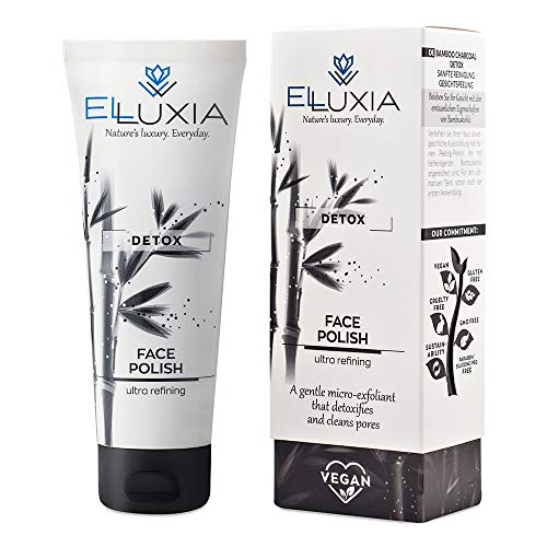 ELLUXIA Natural Exfoliating and Refining Face Polish - Vegan, Cruelty free skincare - with Bamboo Charcoal, Rice Beads, Olive Oil - Free of silicones, parabens, and PEGs - Made in Greece, 90ml