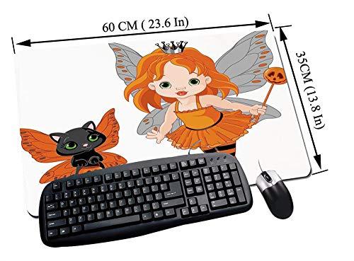 Gaming und Office Mauspad,Halloween, Halloween Baby Fairy und ihre Katze in Kostümen Schmetterlinge Mädchen Kinder Dekor Dekorativ, Multicolor,mit vernähten Rändern und rutschfester unterseite60x35cm