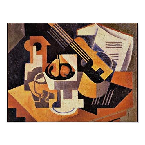 CiCiDi Gris - Póster de guitarra y plato de fruta sobre una mesa, cuadros de pared para decoración del hogar, sin marco, 40,6 x 60,9 cm