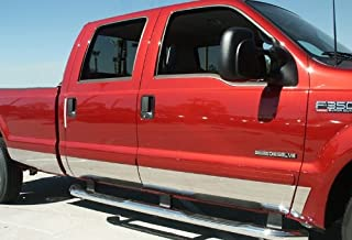 Made in USA! Works with 1999-2010 Ford F-250 Superduty Crew Cab Long Bed Rocker Panel Chrome Stainless Steel Body Side Moulding Molding Trim Cover 8.75