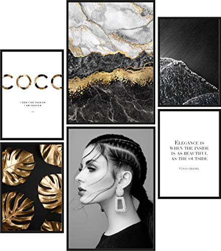 Papierschmiede® Mood-Poster Set Coco Black & Gold | Bilder als Wanddeko | Wohnzimmer & Schlafzimmer | 2X DIN A3 und 4X DIN A4 | Marmor Schwarz Eleganz - ohne Rahmen