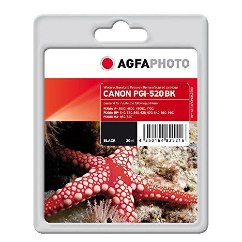 AgfaPhoto APCPGI520BD Tintenpatrone mit Chip für PGI-520 BK, schwarz