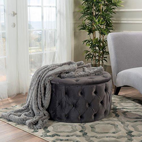 Christopher Knight Home Zelfa Velvet Ottoman, Grey