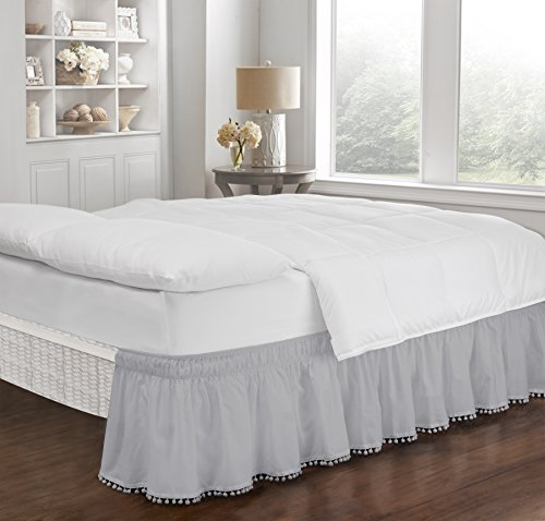 Easy Fit Pom Fringe Wrap Around Easy On/Off Dust Ruffle 18-Inch Drop Bedskirt, Queen/King, Gray