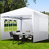 GARTIO Pop Up Canopy Tent, Portable Commercial Instant Shelter, Adjustable Height Outdoor Event Gazebos with 4 Removable Sidewalls and Carry Bag, for Wedding Beach Party Picnic, 10x10 FT, White