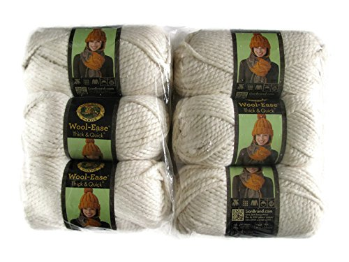 Lion Brand Yarn Wool-Ease Thick and Quick Yarn, (6-Pack), Fisherman