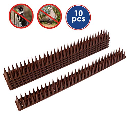 Calayu Vogelcontrole spikes, 10 stuks anti-lastig strips dier verdediging spikes voor katten vogels voor hekken muren tuin