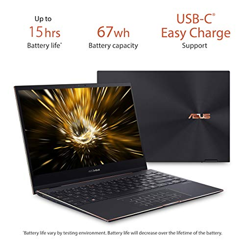 "Product Image 4: , ASUS ZenBook Flip S Ultra Slim Laptop, 13.3"" 4K UHD OLED Touch Display, Intel Evo Platform – Core i7-1165G7 CPU, 16GB RAM, 1TB SSD, Thunderbolt 4, TPM, Windows 10 Pro, Jade Black, UX371EA-XH77T"