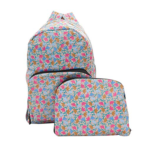 Eco Chic Lightweight Foldable Backpack Ditsy Doodle Flowers (Beige)