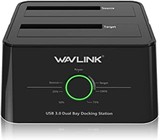 WAVLINK USB 3.0 to SATA (5Gbps) Dual-Bay External Hard Drive Docking Station for 2.5 inch/3.5 Inch HDD,SSD Support Offline...