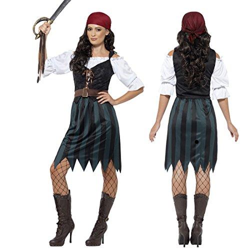 NET TOYS Piratenkostüm Damen Piratinnenkostüm M 40/42 Damenkostüm Seeräuberin Piratin Kostüm Freibeuterin Piraten-Outfit Frauen Faschingskostüm Piratenbraut