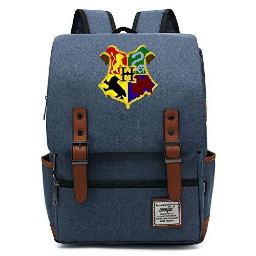 MMZ Mochila Unisex Mochila Estilo Hogwarts, Mochila para Libros para niños, Mochila Escolar de Ocio para escuelas primarias y secundarias 38X27X12.5CM Azul