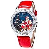 Souarts Damen Weihnachtsmann Retro Einfach Design Kunstleder Armbanduhr mit Strass Quartzuhr Analog mit Batterie