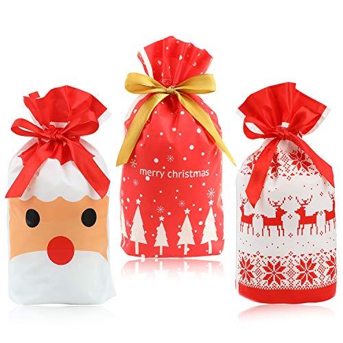 HOWAF 30 Pezzi Sacchetti Regalo di Natale, Sacchettini di Festa Natalizie Biscotto Caramella Borsa di Regalo Natale Bustine Regalo Plastica Sacchettini Natalizi Compleanno Bambini