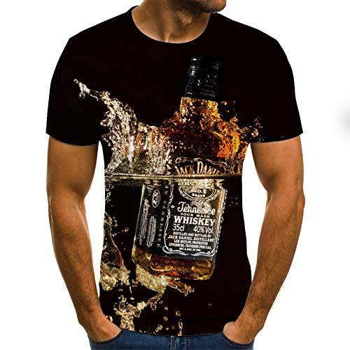 Blue and White Reflections Camisetas Hombre 3D Camiseta con Botella de Whisky con Agua Camiseta 3DT para Hombre Manga Corta Cuello Redondo Impresin Digital Casual Manga Corta-Color_M