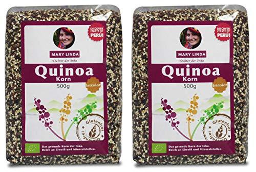 Mary Linda BIO Quinoa Korn - Vegan ohne Gluten & Soja, aus biologisch kontrolliertem Anbau (tricolor) (2 x 500g)