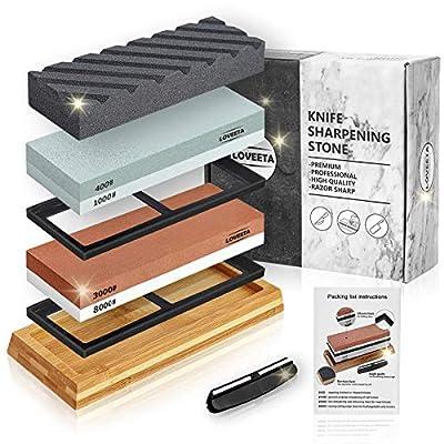 LOVEETA Sharpening Stone Whetstone Knife Sharpener - Wet Stones Kit Premium Dual Side Grit 400/1000 3000/8000 Waterstone Set with Non Slip Bamboo Base, Flattening Stone and Angle Guide