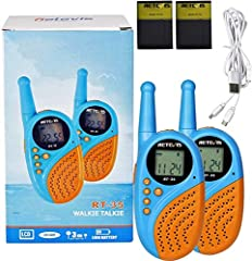 Rechargeable walkie talkies; included batteries and double USB connector allow you charge the kids walkie talkies and don't need to order battery more Alarm clock radio; not only a walkie talkie but also a alarm clock to wake up the kids and offer a ...