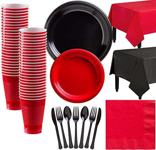 Party City Black and Red Plastic Tableware Kit for 50 Guests, 487 Pieces, Includes Plates, Napkins, and Table Covers