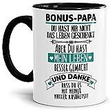 Tasse mit Spruch - Danke Bonus Papa - Kaffeetasse/Spruchtasse/Bester Stiefpapa/Geschenk Stiefvater - Innen & Henkel Schwarz