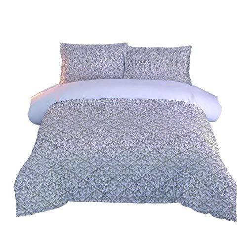 Duvet Cover Set in Double 200x200cm,Bedding,Brushed Microfibre with zipper closure includes 2 pillowcases.Style:Grey check print