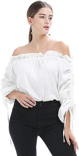 Cnsdy Chemises Femme UniCouleure Chemises à Manches Longues Hauts épaules dénudées