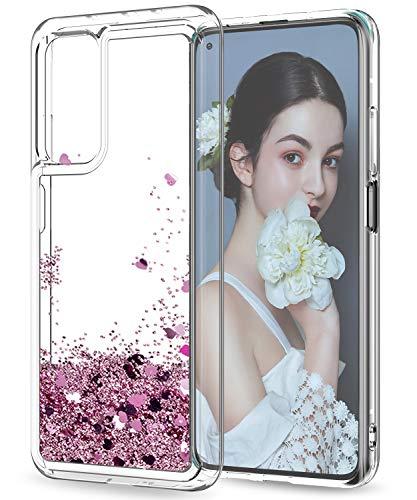 LeYi Funda Xiaomi Mi 10T / Mi 10T Pro Silicona Purpurina Carcasa, Transparente Cristal Bumper Telefono Gel TPU Fundas Case Cover para Movil Xiaomi Mi 10T / Mi 10T Pro ZX Oro Rosa