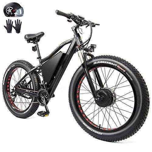 Bicicleta electrica, 60V 2000W Bici eléctrica Bici de montaña eléctrica 26 pulgadas de grasa Neumático E-bicicleta 21 velocidades Playa Cruiser Hombre Deportes Bicicleta de montaña Batería de litio Ba