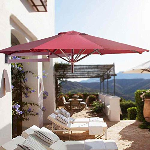 CHNG Sombrilla de Montaje en Pared para Exteriores, balcón, Vacaciones, jardín al Aire Libre, sombrilla inclinable en voladizo, sombrilla con Poste de Metal (Color: Rojo)