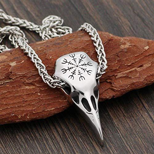 Collar de Cuervo Vikingo, yelmo de Calavera de Cuervo de Odin nórdico Runa de asombro Amuleto Colgante de Plata Antigua de Acero Inoxidable con Cadena de Metal