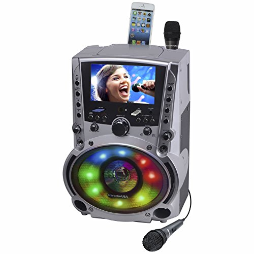 """Karaoke USA GF758 Complete Karaoke System with 2 Microphones, Remote Control, 7"""" Color Screen, LED Lights - Works with DVD, Bluetooth, CD, MP3 and All Devices"""