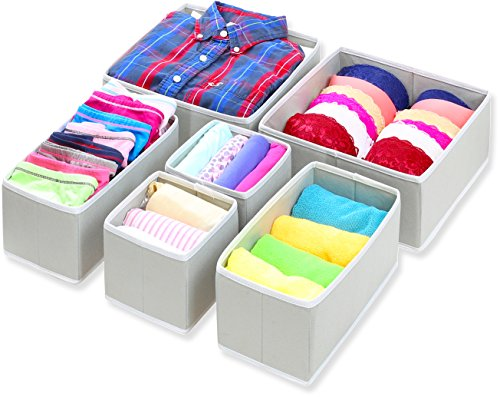 Mejor Set of 4 Organizer Bins with Dividers for Closet Dresser Drawer Inserts Bathroom Dorm or Baby Nursery; Store Socks Underwear Clothes; Clothing Organization; Organizador de Closet; (Set of 4, Beige) crítica 2020